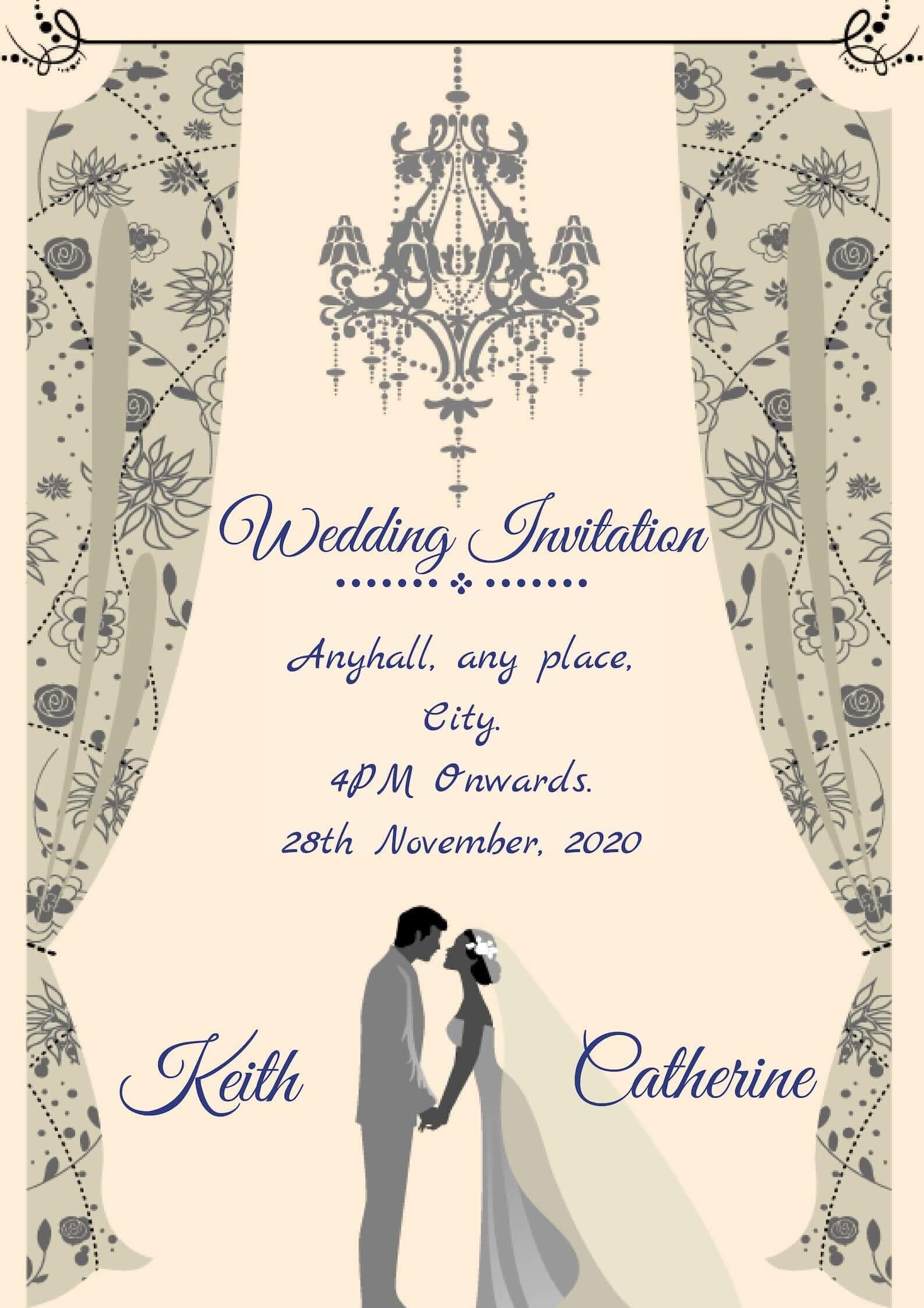 Pink Wedding Hall themed Elegant Christian Wedding Card